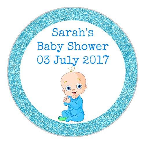 24Personalisierte Baby Dusche Blue Boy Fake Faux Glitter-Look Cute Baby Dusche Partei Tasche Danke Sweet Konus Aufkleber Etiketten DE5 (Personalisierte Baby-dusche-etiketten)