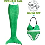 Tendol 3 Pc Swimming Mermaid Tail, Monofin Compatible, For Children, (Mono-fin not included) (Blue, Small)