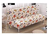 VGUYFUYH Flower Pattern Armless Ausklappbares Sofa Bett Sofa Polyester Full Package Elastizität Anti-Skid Home Allmächtig Sofa Retro Mode Set Robuste Staub- Hund Schutzabdeckung (155-190 cm)