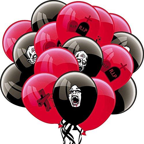 PAPERJAZZ Halloween Globos de látex negro y rojo para Zombie cumpleaños Halloween fiesta decoración 16 piezas