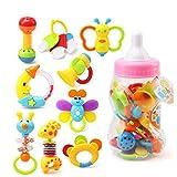 Toyvian 9 stücke Baby Beißring Rassel Set mit Babyflasche Baby greifen Spielzeug Schütteln Glocken Set Frühe Lernspielzeug