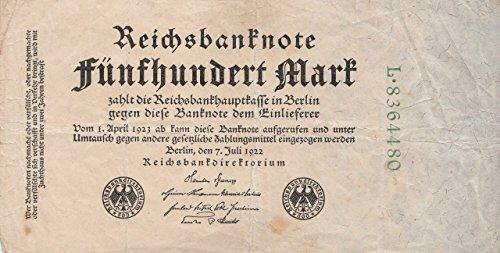 Generische Deutsches Reich Rosenbg: 71b, 7stellige Kontrollnummer gebraucht (III) 1922 500 Mark (Banknoten für Sammler)