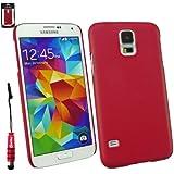 Emartbuy® Eingabestift Pack für Samsung Galaxy S5 Displayschutz + Metallic Mini Rot Eingabestift + Rot Ledereffekt Schlank Clip On Hülle Schutzhülle Case Cover