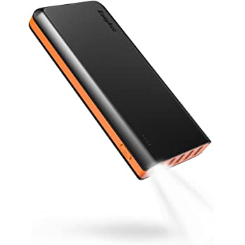 EasyAcc 26000mAh Portable Power Bank (Ingresso di 4A, Smart Output di 4.8A) Batteria Esterna Caricatore Portatile per Android iPhone Samsung HTC Smartphone Tablets - Nero e Arancione