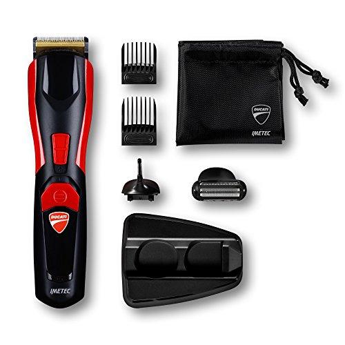 Ducati By Imetec Kit Regolabarba GK 618 Gearbox, 8 in 1 per Viso e Corpo, Lame in Acciaio Inossidabile, Rifinitore di Precisione, Body Shaver, ca/batteria