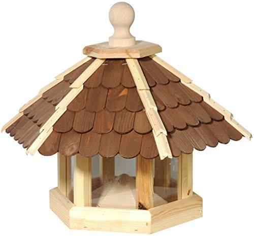 dobar 44136e Großes XXL Vogelhaus aus Holz (Kiefer) für Garten, Balkon, mit dunklen Holzschindeln, Silo mit Futterpyramide, 6 Anflugstangen für Vögel - XL Vogelhäuschen Vogelfutterhaus