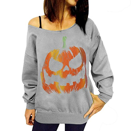 Damen Halloween Kürbis Print Langarm Sweatshirt Pullover Tops Bluse Shirt Yanhoo Mode Langarmshirts Pulli Sport Pullover