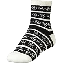 Yaktrax Women's Cozy Cabin Socks Black White