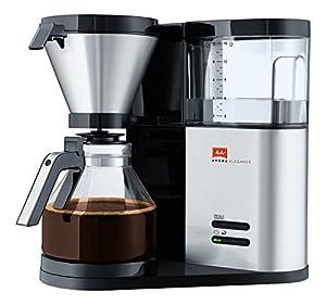 Melitta Aroma Elegance, 1012-01, Filter Coffee Machine with Glass Jug, Black/Brushed Steel