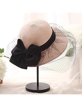 LVLIDAN Sombrero para el sol del verano Lady Anti-Sol Playa pescador sombrero de paja plegable rosa