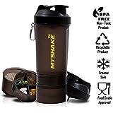 Myshake 16009 Smart Protein Plastic Shaker Bottle, 600ml (Black)