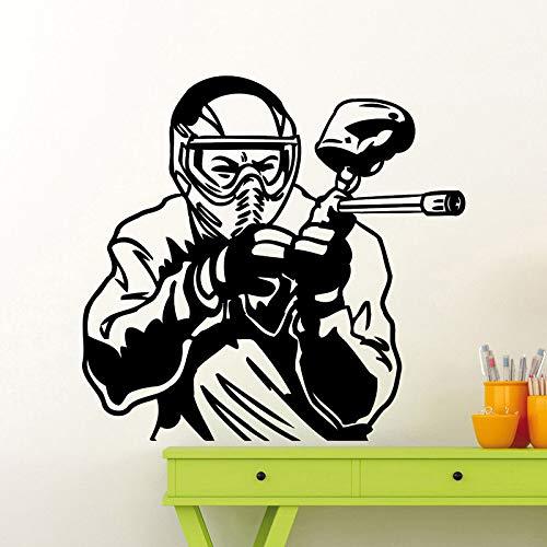 JXAA Paintball Spieler Wandtattoo Extreme Sport Vinyl Aufkleber Art Decor Wandbild 54x57cm