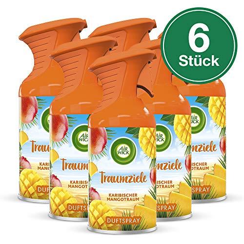 Air Wick Traumziele Karibischer Mangotraum - Fruchtig-süßes Duftspray ohne feuchten Niederschlag - Duft: Mango - 6 x 250 ml