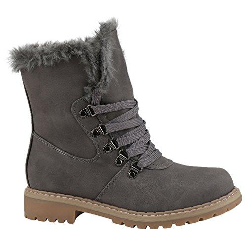 Stiefelparadies Damen Stiefeletten Warm Gefütterte Worker Boots Outdoor Schuhe Flandell Grau Camiri