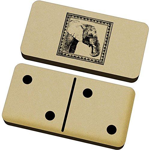 Azeeda 'Retrato de Elefante' Domino Juego y Caja (DM00017805)