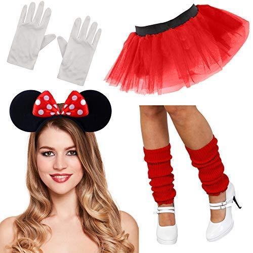 Crazy Chick XL Minnie Mouse Set Damen Kostüm Tutu Ohren Handschuhe Stulpen Set Outfit (Full 4-teiliges Set)