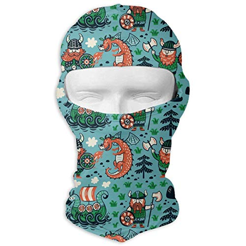 Cartoon Vikings Dragon and Ship Windproof Dust Protection Balaclava Full Face Mask Hood Headcover - Headcover Turban