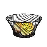 Johlye Premium Obst Ablagekorb, Metall Obst Display Organizer Einzigartige große Obst Gemüse Container Rack Ablage Fach Halter Runde Regal Schüssel (Schwarz)