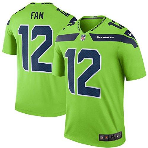 12 Fan Trikot Seattle Seahawks Jersey American Football Shirt Mens Green Color Rush Legend Size XXL(52)