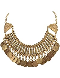 Zephyrr Fashion Coin Choker Turkish Silver Metal Choker Necklace For Women And Girls