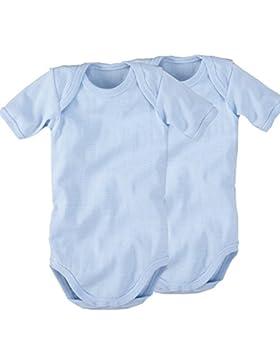 Wellyou, confezione da 2, di Baby Todler-Body a maniche corte, da bambino, colore: Azzurro e Bianco