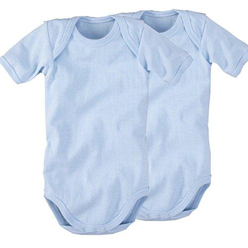 wellyou, 2er Set Kinder Baby-Body Kurzarm-Body, hell-blau weiß gestreift, geringelt, Feinripp 100% Baumwolle
