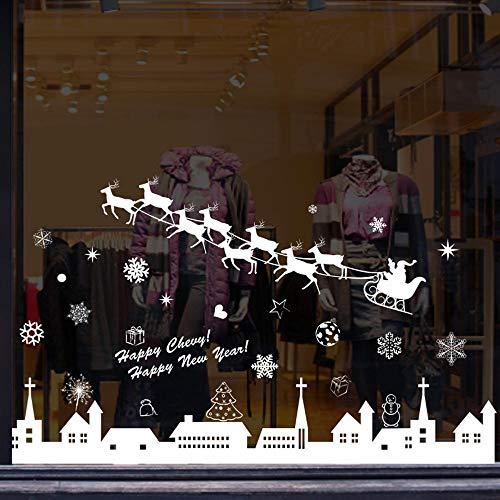 ocke Weihnachten Neujahr schmücken die Fenster Hintergrund Dekoration abnehmbare Wandtattoo Leben ()