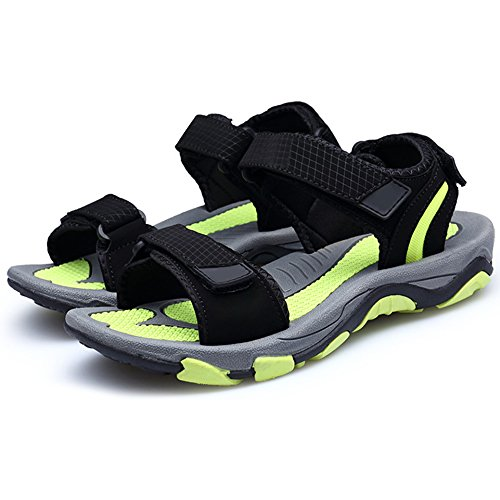 Eastlion Herren und Jungen Leder Sandalen Peep-Toe Sommer Sandalen Strand Sandalen Athletic und Outdoor Sport Sandalen Schuhe Farbe 3