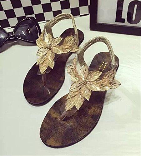 Fortuning's JDS Elegante design unico fiore T-cinghie sandali piani Oro