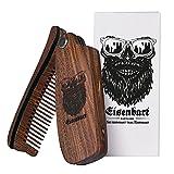 Bartkamm klappbar von Eisenbart / Taschenkamm natürliche Bartpflege aus Sandel Holz / Ergänzung zur Bartbürste Bartöl Bartwachs Beardbalm Bartbalm