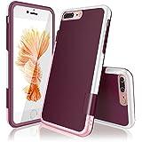 """iPhone 7 Plus Funda - [Ultra Hybrid] HanLuckyStars Funda Carcasa Case TPU Matte Shell Exact Bumper Tope Shock Protección Gota Anti-Arañazos , Choque Absorción Borrar Espalda para Apple iPhone 7 Plus 5.5"""" (Rosa/Blanco)"""