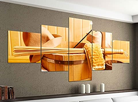 Leinwandbild 5 tlg. 200cmx100cm Sauna Zubehör Wellness Spa Kübel Bilder