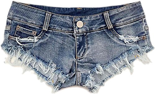 jeansian Donna Rock la Persona Sexy Mini Breve Pantaloncini Calzoncini Denim dei Bicchierini Hot Pants WPC003 Blue S