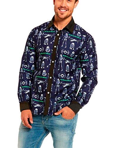 FORH Herren Freizeit Slim Bluse Halloween Bezaubernd Blumen Drucken Hemd Klassische Marine blau hemd Elegant Temperament business hemden Modisch Clubwear tops (S, Marine blau) (Klassische Hexe Erwachsene Kostüme)