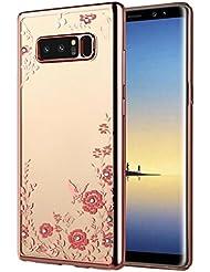 bescita Fleurs Bling cas en TPU souple Housse Coque Housse pour Samsung Galaxy Note 8