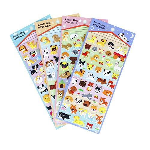 Happy Puppy Dog Stickers 4 Sheet with Golden Retriever, Shepherd Dog, Teddy, Bull Dog - PVC Foam Doggy Stickers for Kids - 160 Stickers -