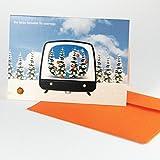6 Weihnachtskarten mit orangen Kuverts, Angela Kröll: Der kleine Fernseher für unterwegs, Klappkarten DIN A6
