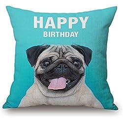 MaxG Lovely Popular perro Pug funda para cojín funda de almohada manta funda de almohada