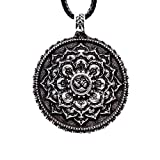 Lotus Flower Om Mandala Pendant Necklace Retro Yoga Tibetan Buddhist Amulet Spiritual Talisman Zinc Alloy Womens Jewellery Gift (Antique Silver 4029)