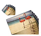 #5: TIED RIBBONS Table Mats for Dining Table with Coasters 6 Piece PVC(42 cm X 28 cm)