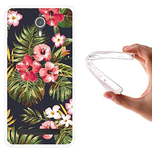 WoowCase Coolpad Porto S Hülle, Handyhülle Silikon für [ Coolpad Porto S ] Tropische Blumen 1 Handytasche Handy Cover Case Schutzhülle Flexible TPU - Transparent