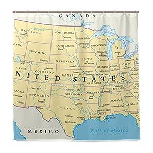 JSTEL – Cortina de ducha con diseño de mapa de los Estados Unidos de América, resistente al moho y resistente al agua, tela de poliéster de 182,88 x 182,88 cm, para el hogar, extra larga, para baño, decorativa, con 12 ganchos
