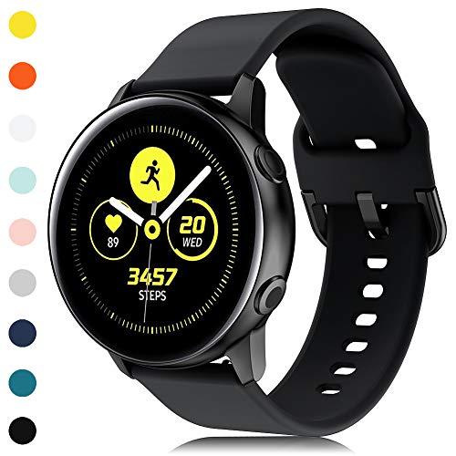 Onedream Kompatibel für Samsung Galaxy Watch Active Armband,Weiches Silikon Galaxy Watch Armband Kompatibel für Samsung Galaxy Watch 42mm/Active/Active 2(44mm/40mm), Schwarz(Keine Uhr)