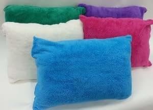 Multiple Colors - Set of 2 Lambs Wool Fluffy Pillows - Standard / Queen - Aqua Green