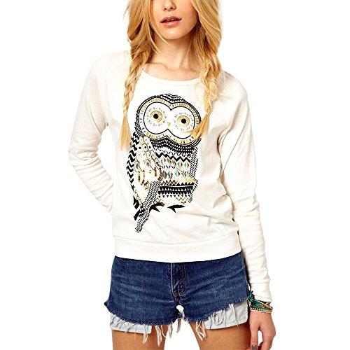 Maglia donna girocollo con stampa gufo owl vintage felpa manica lunga sweatshirt. mws (m)