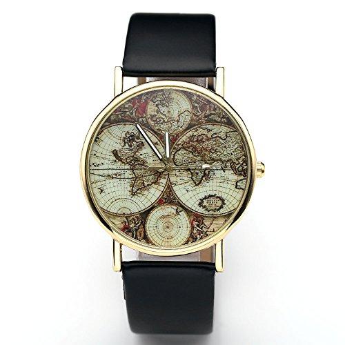 JSDDE Damen Mädchen Uhren Vintage Weltkarte Quarzuhr Armbanduhr Plus Infinity Wickelarmband, Schwarz - 5