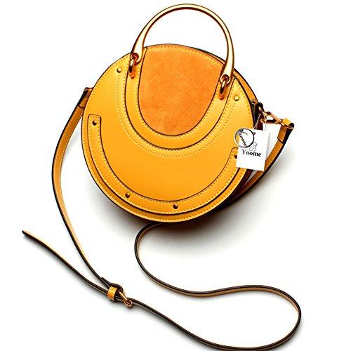 Yoome elegante rivetto borsa borse borsa anello circolare borsa maniglia borse vere borse a tracolla vacchetta per le donne - nero Giallo