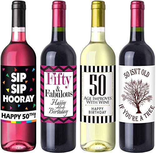 Sterling James Co. Schicke Weinflaschen-Etiketten für 50. Geburtstag - Geburtstagsparty Accessoires, Ideen und Dekorationen - Lustige Geburtstagsgeschenke für Frauen