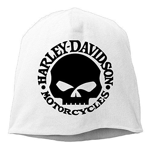 Hittings M Harley Davidson Logo Skull Unisex Skull Cap Warm Hat One Size White (Skull White Cap)