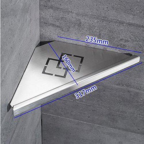 ZHIHUI 304 Edelstahl Gebürstet Dreieck Platte Korb Ecke Regal Rack Badezimmer Single Storey Wandbehang Lagerregal,A (Platte Speicher-rack)